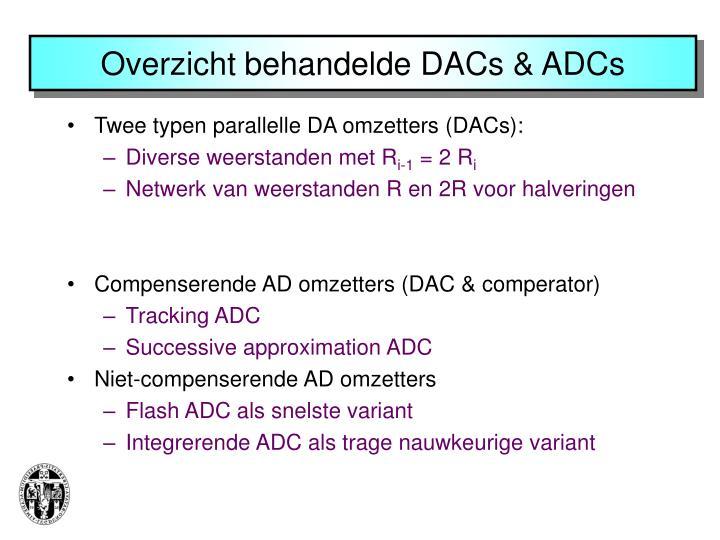 Overzicht behandelde DACs & ADCs