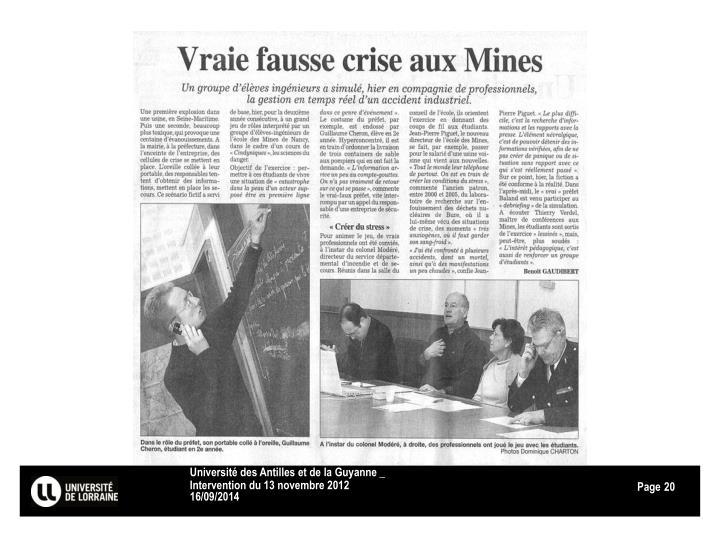Université des Antilles et de la Guyanne _ Intervention du 13 novembre 2012