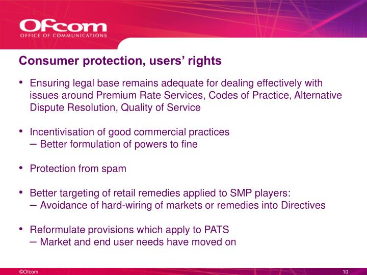 Consumer protection, users' rights