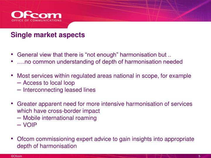 Single market aspects