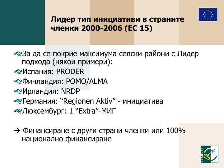 Лидер тип инициативи в страните членки 2000-