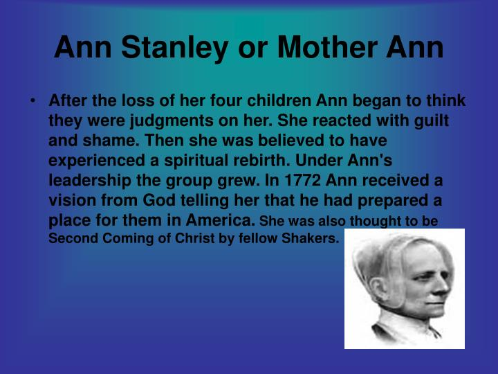 Ann stanley or mother ann