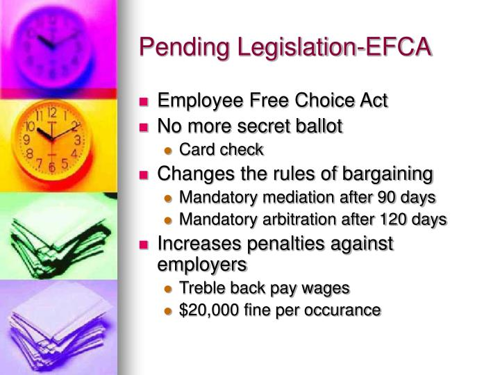 employee free choice act On march 1, 2007, the house voted 241-185 to approve hr 800, the employee free choice act hr 800 would fundamentally change the national labor relations act (nlra) in four ways that are detrimental to employers, as follows.