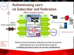 authenticating users via subscriber and federation