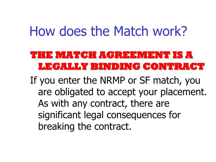 How does the Match work?