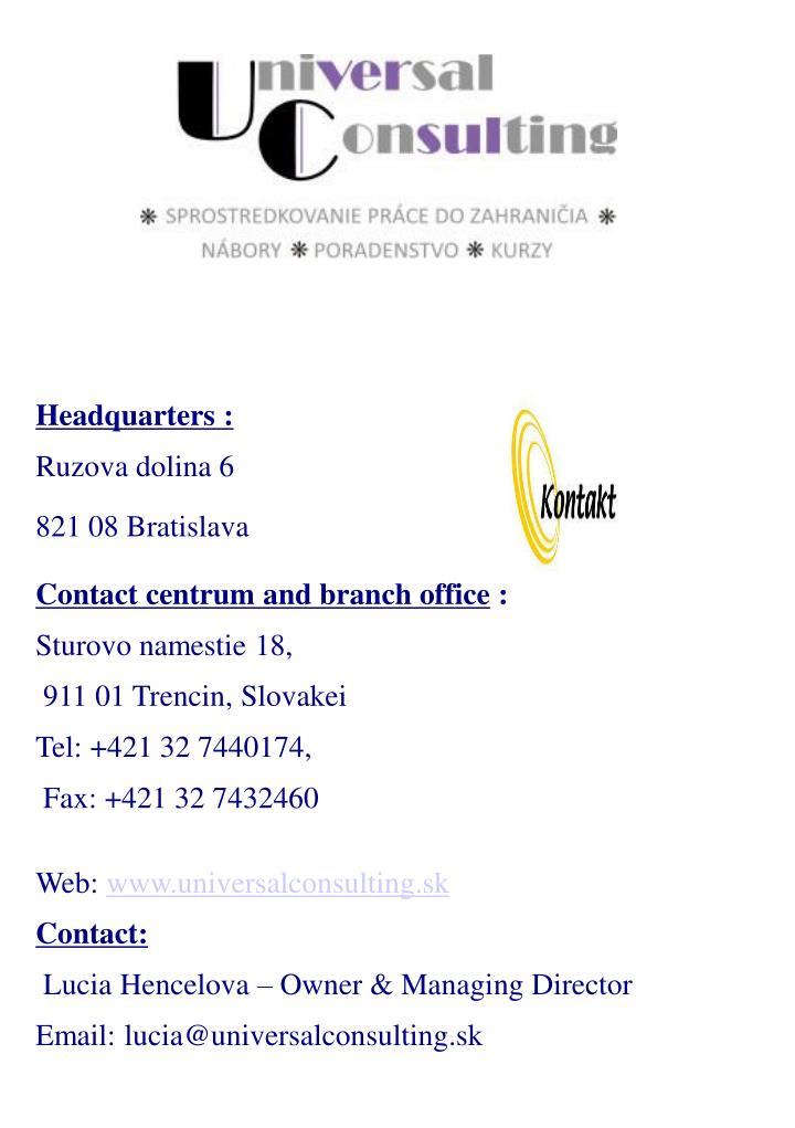 Headquarters :