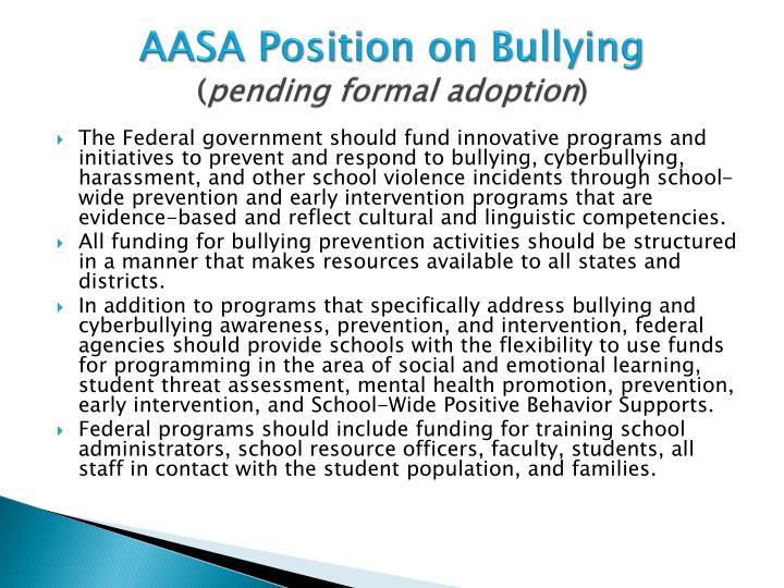 AASA Position on Bullying