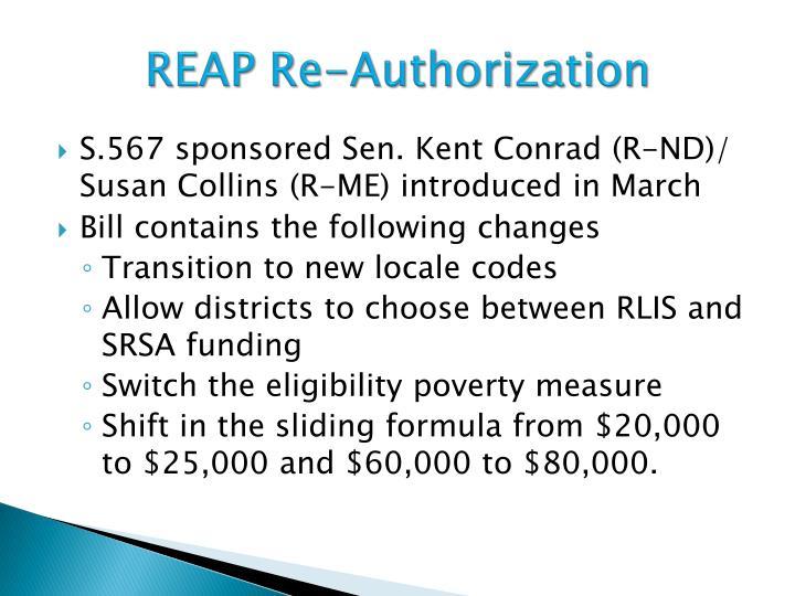 REAP Re-Authorization