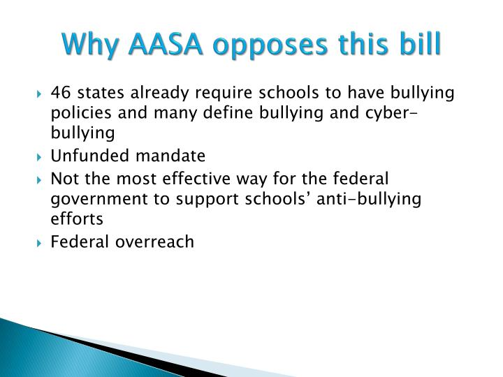 Why AASA opposes this bill