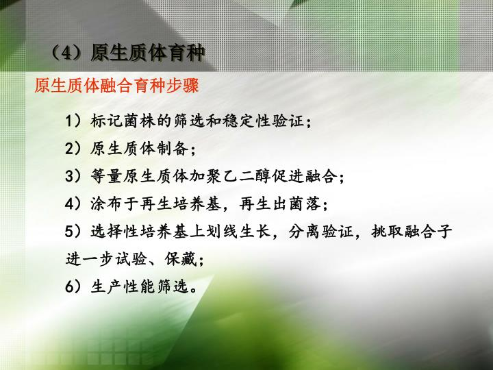 (4)原生质体育种