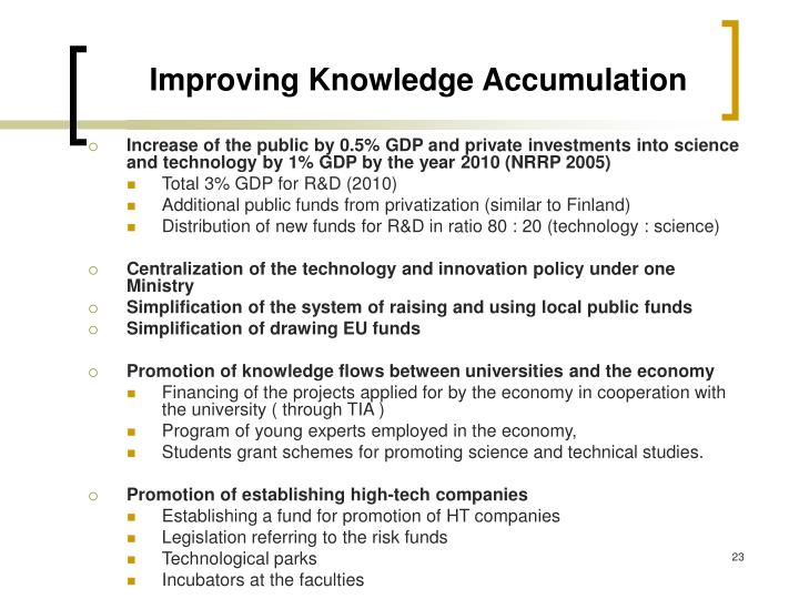 Improving Knowledge Accumulation