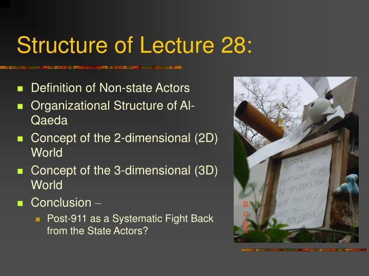 Structure of lecture 28