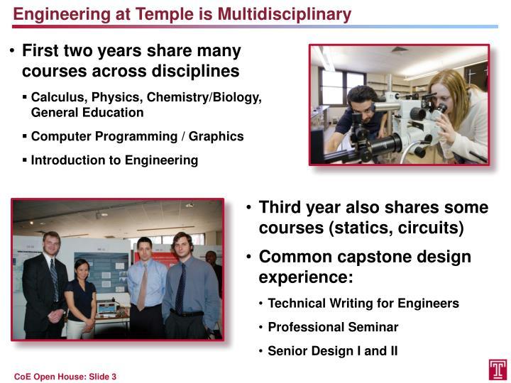 Engineering at Temple is Multidisciplinary