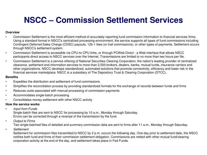 NSCC – Commission Settlement Services