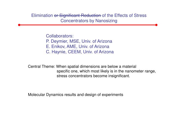 Elimination or Significant Reduction of the Effects of Stress