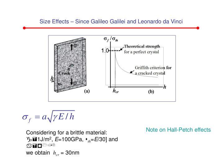 Size Effects – Since Galileo Galilei and Leonardo da Vinci