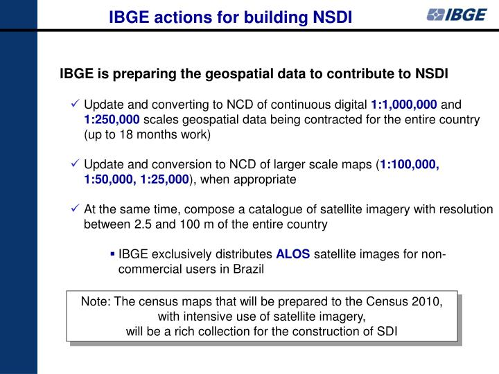IBGE actions for building NSDI