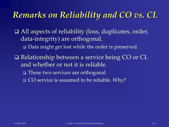 Remarks on Reliability and CO vs. CL