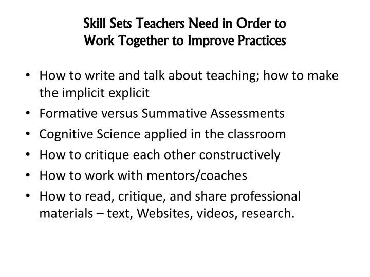 Skill Sets Teachers Need in Order to