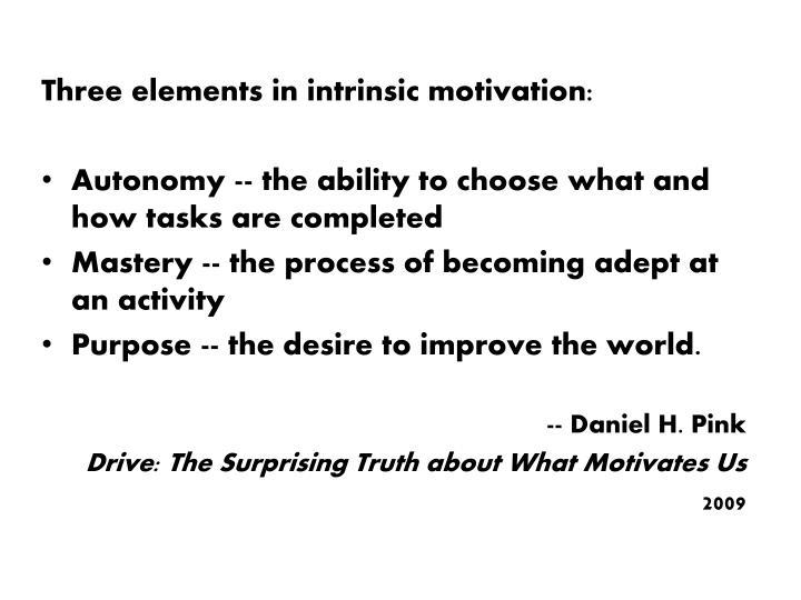 Three elements in intrinsic motivation: