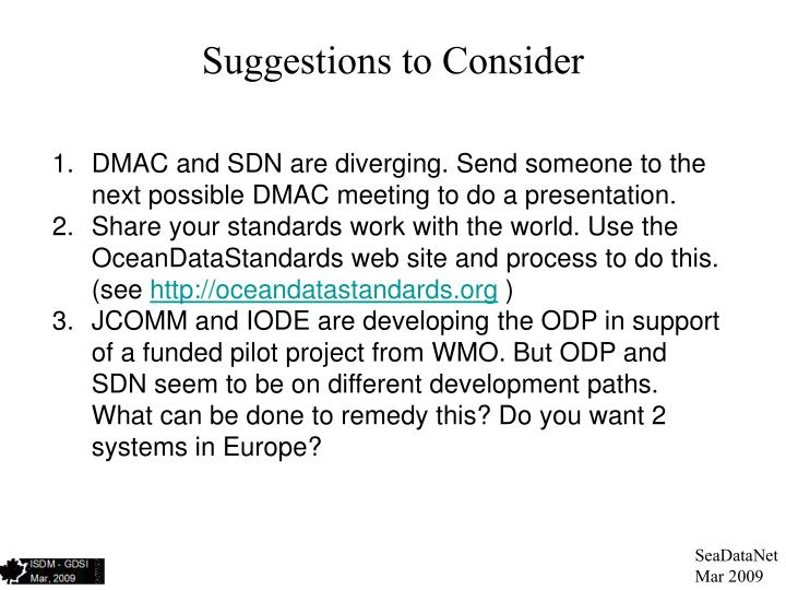 Suggestions to Consider