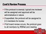 cont d review process