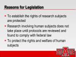reasons for legislation