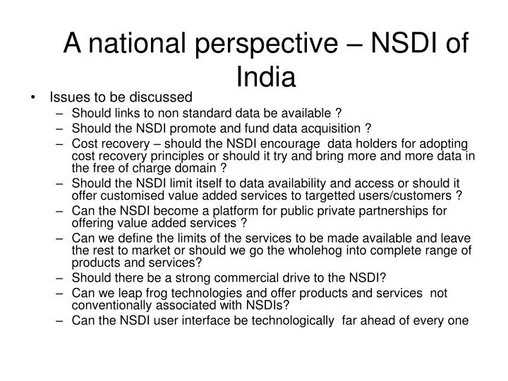 A national perspective – NSDI of India