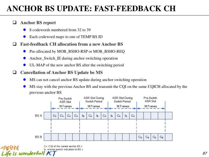 ANCHOR BS UPDATE: FAST-FEEDBACK CH