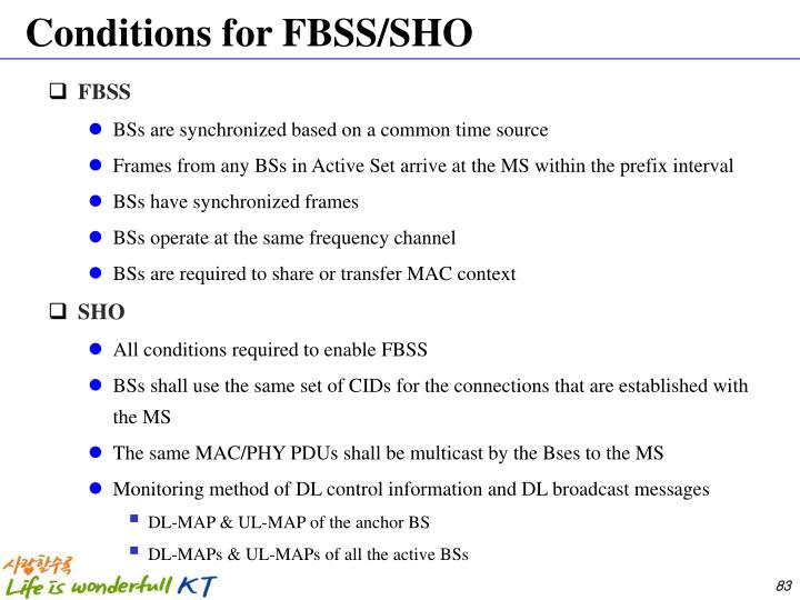 Conditions for FBSS/SHO