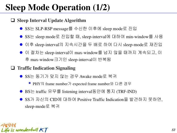 Sleep Mode Operation (1/2)