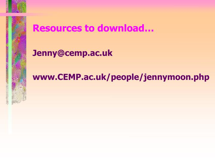 Resources to download…
