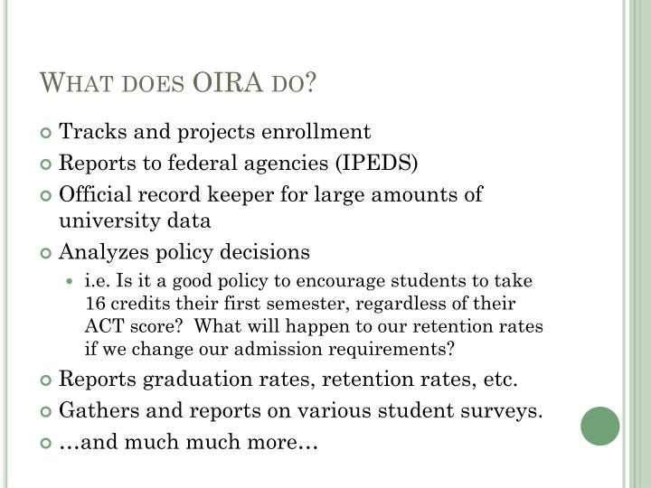 What does oira do