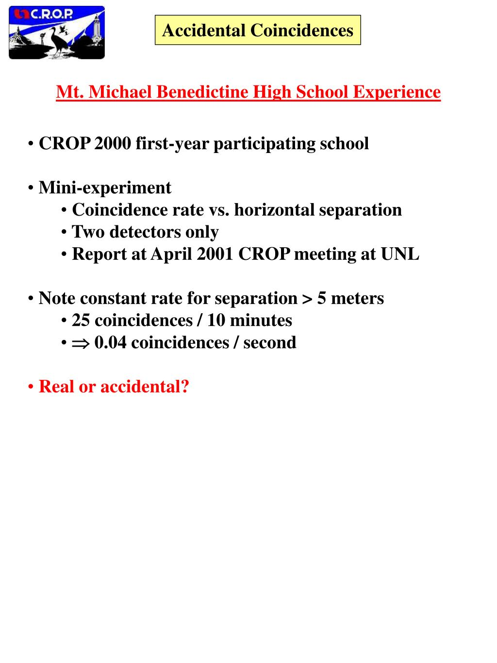 PPT - Accidental Coincidences PowerPoint Presentation - ID