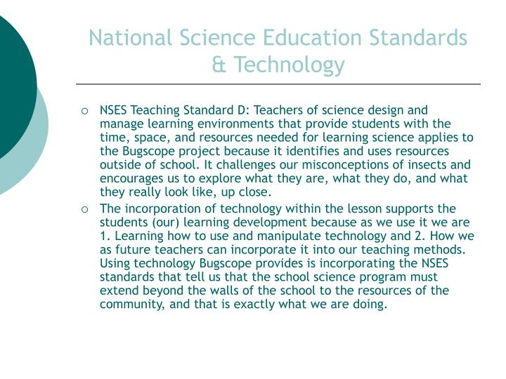 National science education standards technology