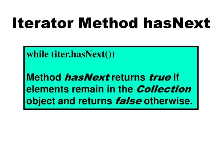Iterator Method hasNext