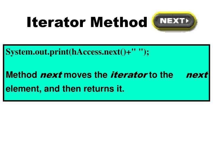 Iterator Method next