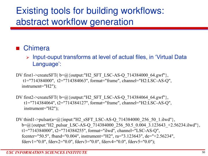 Existing tools for building workflows:
