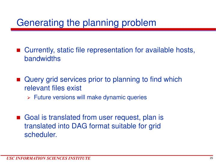 Generating the planning problem