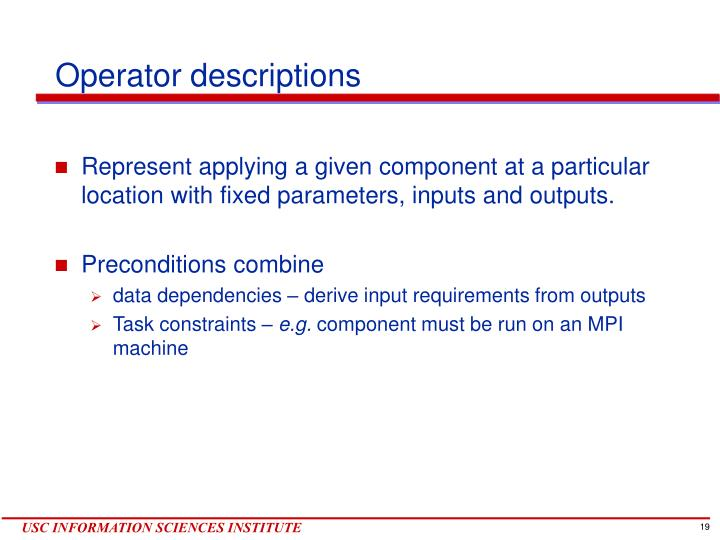 Operator descriptions
