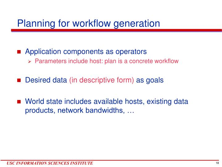 Planning for workflow generation