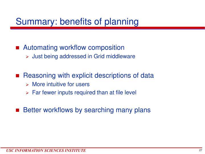 Summary: benefits of planning
