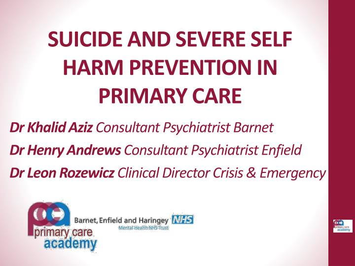 suicide and severe self harm prevention in primary care n.