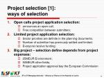 project selection 1 ways of selection