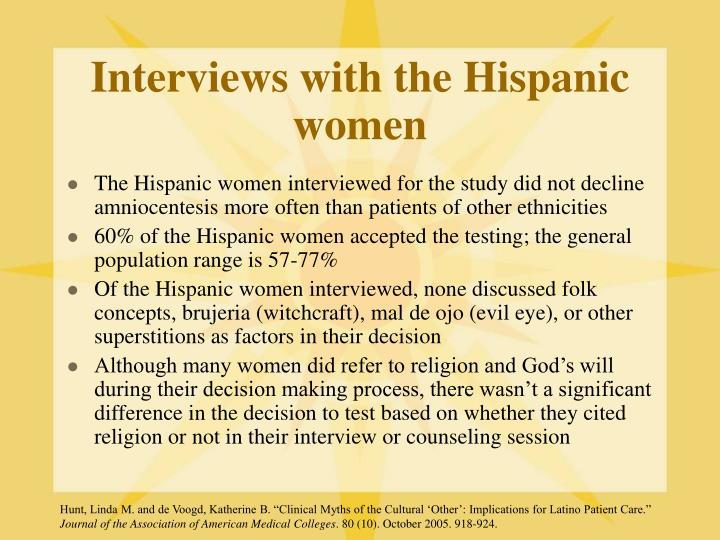 Interviews with the Hispanic women