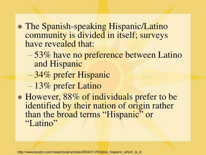 The Spanish-speaking Hispanic/Latino community is divided in itself; surveys have revealed that:
