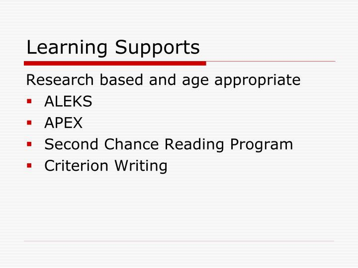 Learning Supports