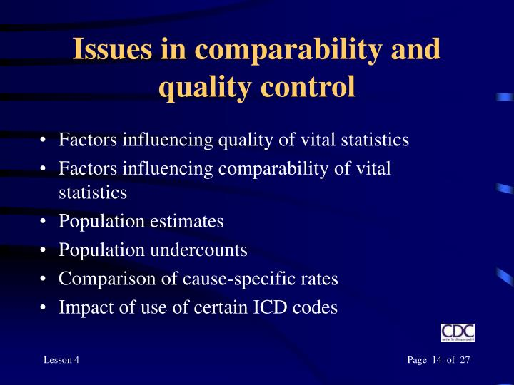 Issues in comparability and