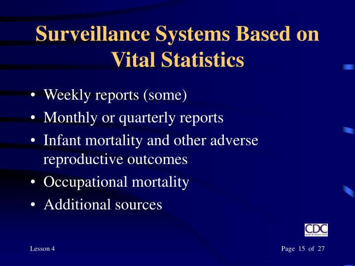 Surveillance Systems Based on Vital Statistics