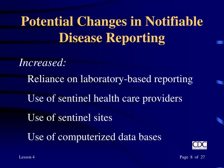 Potential Changes in Notifiable Disease Reporting